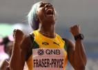 Freizere-Praisa ceturto reizi uzvar 100 metros, amerikāņi triumfē jaunajā stafetē