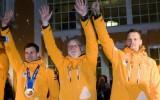 Foto: Latvijas olimpiskās skeletona komandas sagaidīšana Siguldā