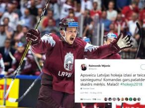 """PČ """"Twitter"""" čalas: apsveikumu jūra Latvijas izlasei un Hārtlijam"""