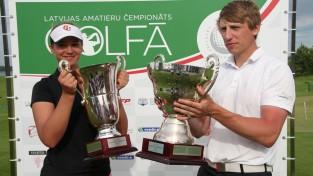 Eihmanis un Švanka sekmīgi aizstāv Latvijas golfa čempionu titulus
