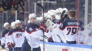 Francijas U18 izlase atkal ielaiž septiņus, ASV juniori iemet astoņas ripas Šveicei