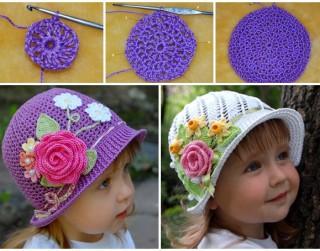 Tamborēta vasaras cepurīte meitenei