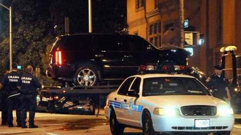 Maikla Felpsa mašīna pēc satiksmes negadījuma Foto: SCANPIX SWEDEN
