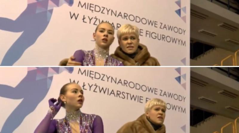 Angelīna Kučvaļska un trenere Jekaterina Platonova  Foto: Mentor Cup