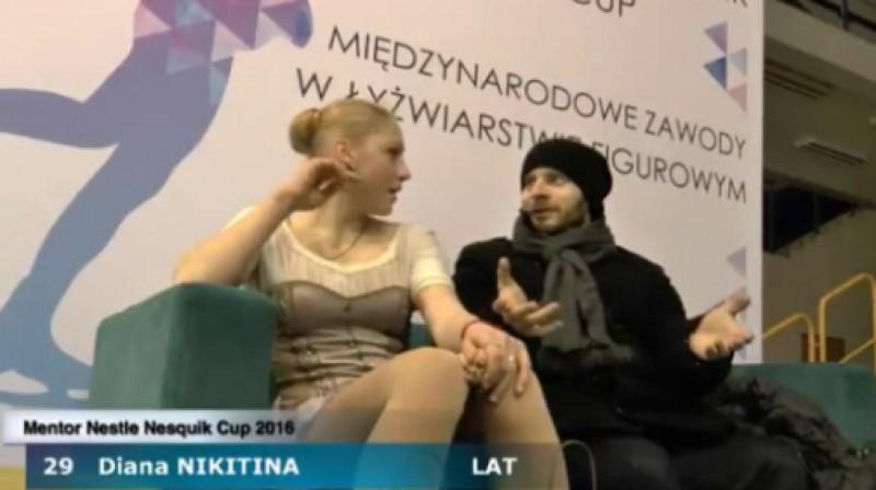 Diāna Ņikitina un treneris Romāns Panteļejevs Foto: Mentor Cup