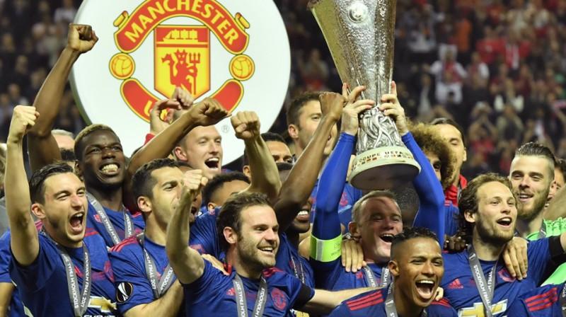 Mančestras ''United'', izcīnot Eiropas līgas titulu 2016./17. gada sezonā. Foto: AP/Scanpix