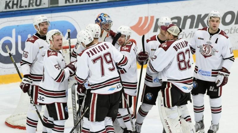 Rīgas ''Dinamo'' hokejsti pēc uzvaras iepriekšējā spēlē. Foto: dinamoriga.lv