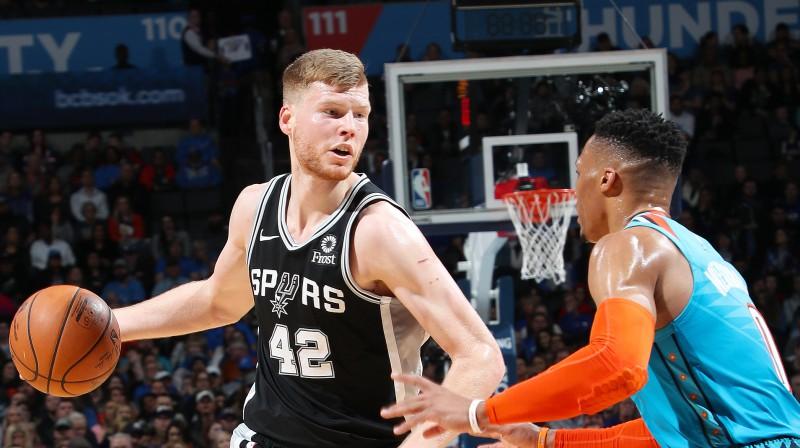 "Dāvis Bertāns pret ""Thunder"". Foto: nba.com/spurs"