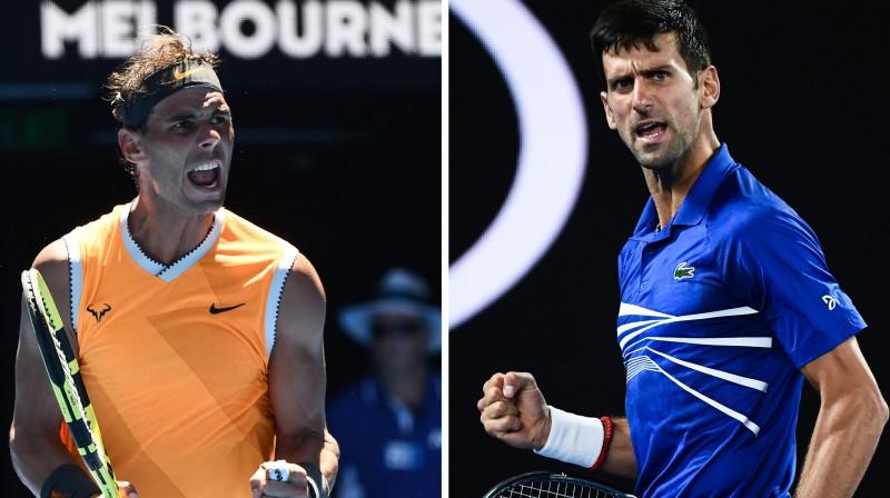 Rafaels Nadals un Novaks Džokovičs. Foto: AFP/Scanpix