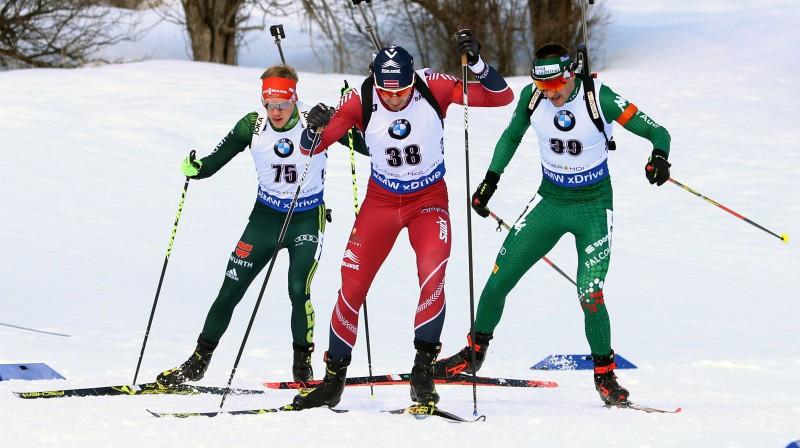 Andrejs Rastorgujevs (centrā) Soltleiksitijas sprintā. Foto: EPA/Scanpix