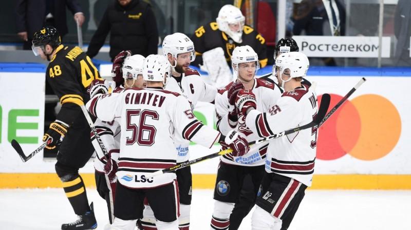 Rīgas ''Dinamo'' hokejisti iepriekšējā spēlē Čerepovecā. Foto: dinamoriga.lv