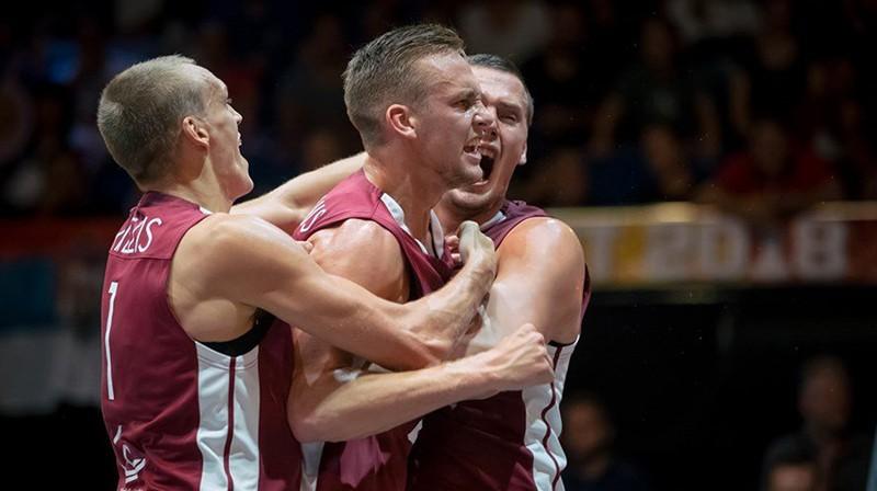 Nauris Miezis, Kārlis Lasmanis un Agnis Čavars. Foto: basket.lv