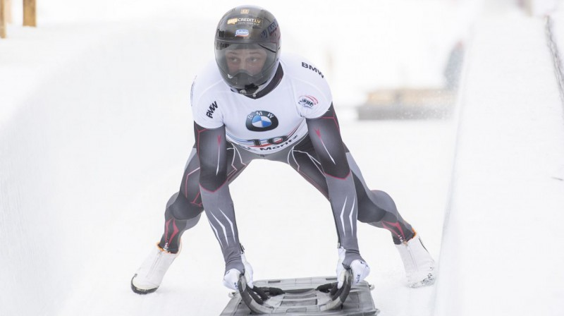 Martins Dunukrs Sanktmoricas finišā. Foto: EPA / Scanpix