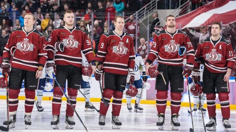 Rīgas ''Dinamo'' hokejisti. Foto: Raimonds Volonts, dinamoriga.lv