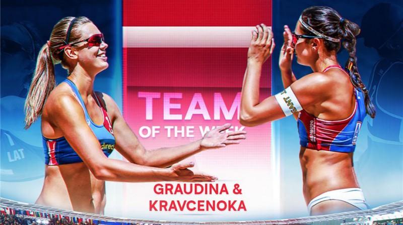 Tīna Graudiņa un Anastasija Kravčenoka - FIVB nedēļas labākā komanda. Foto: fivb.com