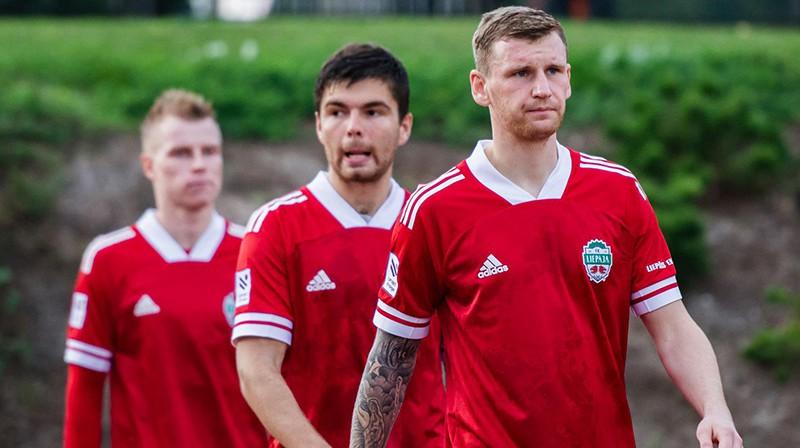 Jevgeņijs Berjozkins, Eduards Tidenbergs un Valērijs Garbačiks. Foto: FK Liepāja