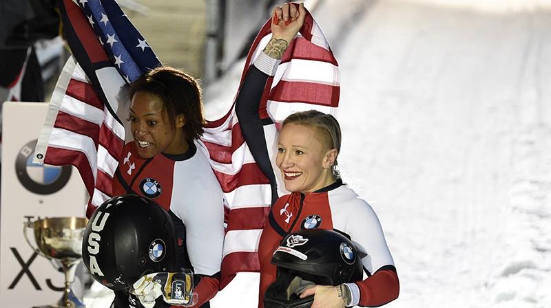 ASV bobslejistes Lorena Gibsa un Keilija Hamfrīza. Foto: SPO/Scanpix