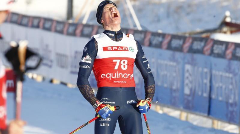 Mikaels Gunnulfsens izcīnījis karjeras lielāko uzvaru. Foto: Terje Pedersens / NTB