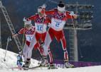 Masu startā triumfē Norvēģijas slēpotājas, Bjergenai sestais olimpiskais zelts