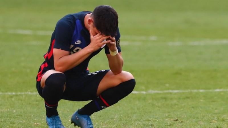 ASV izlases futbolists Sebastians Soto pēc zaudējuma Hondurasai. Foto: REUTERS/Scanpix