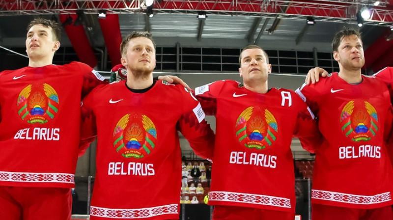 Baltkrievijas izlases spēlētāji pasaules čempionātā Rīgā. Foto: IIHF