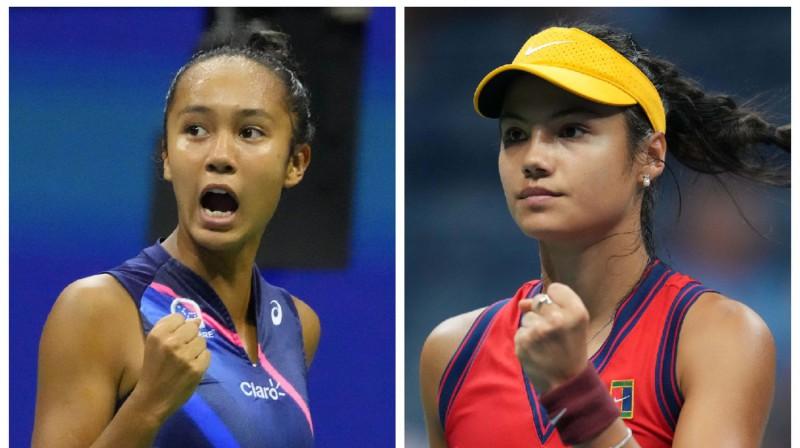 Leila Fernandesa un Emma Radukanu. Foto: USA Today Sports/Scanpix