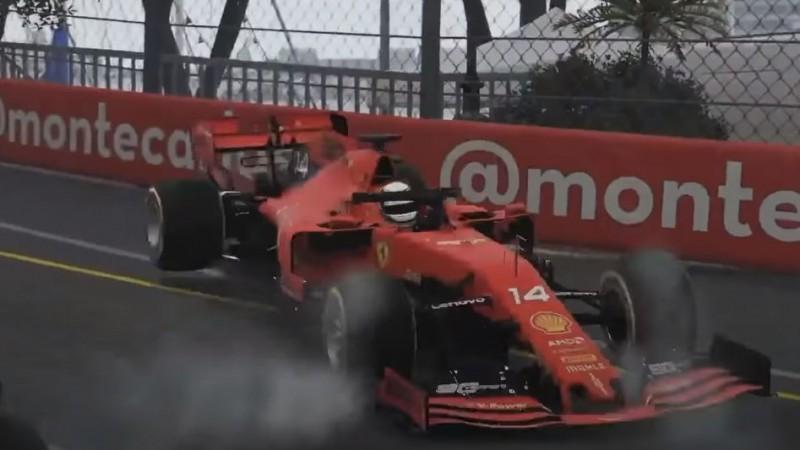 Rasels uzvar virtuālajā Monako, Noriss ietriec barjerā Leklēru