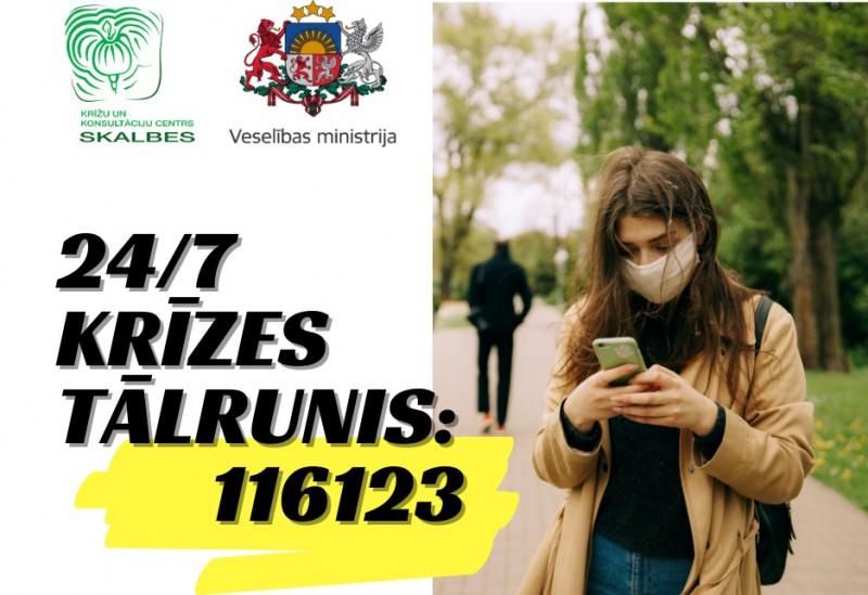 Jauns bezmaksas krīžu tālrunis – 116 123